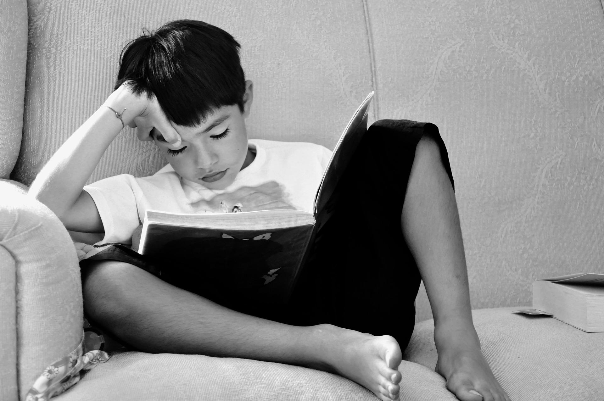 Niño sentado en el sofá leyendo un libro.